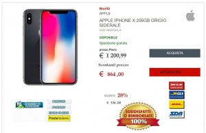 Nuovo Apple iPhone X 256GB Gray sidereal